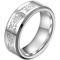 COI Titanium Tribal Pattern Beveled Edges Ring - JT982A