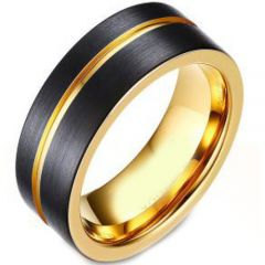 *COI Titanium Black Gold Tone Offset Groove Ring - JT3956