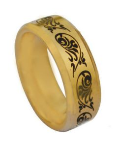 COI Gold Tone Titanium Tribal Pattern Beveled Edges Ring-3867