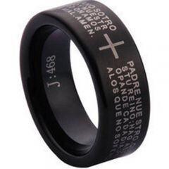 COI Black Tungsten Carbide Cross Scripture Pipe Cut Flat Ring - TG1097