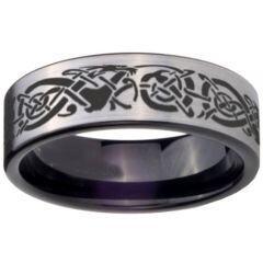 COI Titanium Black Silver Dragon Pipe Cut Flat Ring - 1238