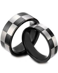 **COI Black Titanium Checkered Flag Pipe Cut Flat Ring - JT4039