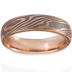 COI Tungsten Carbide Rose Silver Damascus Dome Court Ring-TG1474