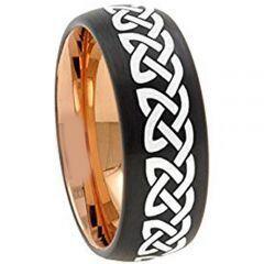 COI Tungsten Carbide Black Rose Celtic Dome Court Ring-157
