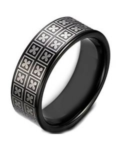COI Black Tungsten Carbide Four Leaf Clover Ring-TG1621AA