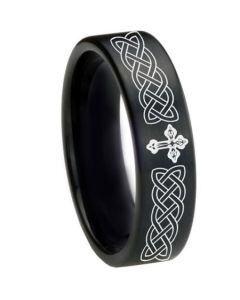 COI Black Tungsten Carbide Celtic Cross Pipe Cut Ring-1661