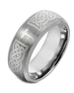COI Tungsten Carbide Cross Celtic Beveled Edges Ring-TG1664