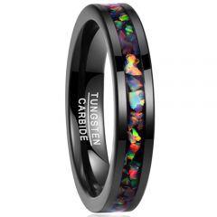 COI Black Tungsten Carbide Crushed Opal Pipe Cut Flat Ring - TG1823
