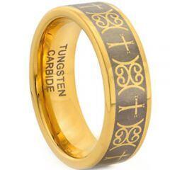 COI Gold Tone Tungsten Carbide Cross Ring - TG1945