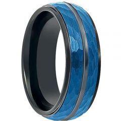 COI Titanium Black Blue Faceted Center Groove Ring - 199