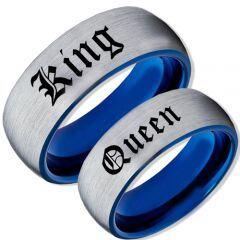 *COI Tungsten Carbide Blue Silver King Queen Ring-TG2095