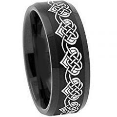 *COI Black Tungsten Carbide Heart Beveled Edges Ring-TG2108