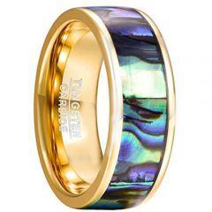 COI Gold Tone Tungsten Carbide Abalone Shell Ring - TG2191CC