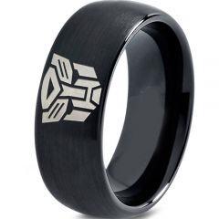 COI Black Tungsten Carbide Transformer Dome Court Ring - TG2286