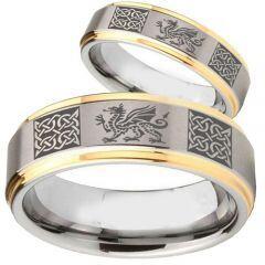 COI Titanium Gold Tone Silver Dragon Celtic Step Edges Ring-2354