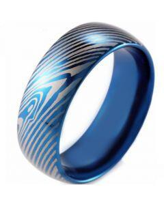 *COI Blue Tungsten Carbide Damascus Dome Court Ring-TG2612