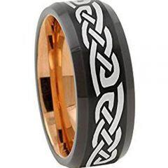 COI Tungsten Carbide Black Rose Celtic Beveled Edges Ring-2726