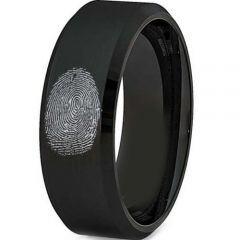 COI Black Tungsten Carbide Custom FingerPrint Ring - TG2775