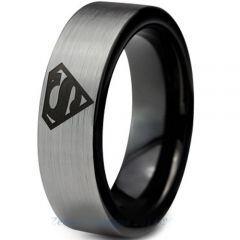COI Titanium Black Silver Superman Pipe Cut Flat Ring - 2776