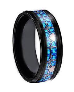 COI Tungsten Carbide Black Blue HeartBeat & Heart Ring - TG2795
