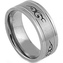 COI Tungsten Carbide Celtic Double Grooves Ring - TG2873BB