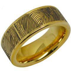 COI Gold Tone Tungsten Carbide Custom Fingerprint Ring-TG287A