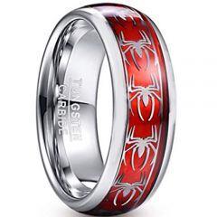 COI Tungsten Carbide Silver Red Spiderman Ring-TG2901