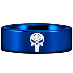 COI Blue Tungsten Carbide Skull Pipe Cut Ring - TG2914AAA
