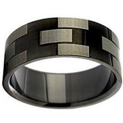 COI Black Tungsten Carbide Checkered Flag Ring - TG2924