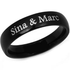 COI Black Tungsten Carbide Ring With Custom Engraving-TG2934