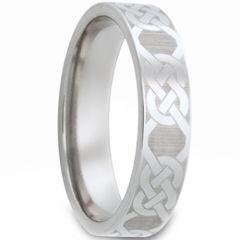 COI Tungsten Carbide Celtic Pipe Cut Flat Ring - TG2976