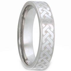 COI Tungsten Carbide Celtic Pipe Cut Flat Ring - TG2977