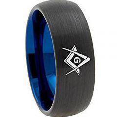 **COI Titanium Black Blue Masonic Dome Court Ring - 3130