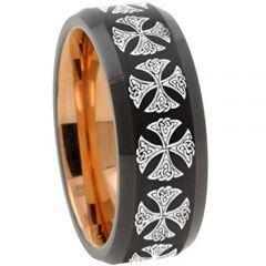 COI Tungsten Carbide Black Rose Cross Ring-TG3147