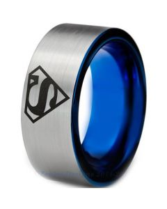 COI Tungsten Carbide Blue Silver SuperMan Ring - TG3226