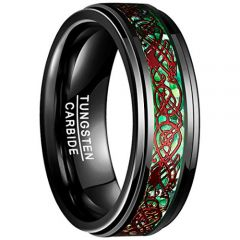 COI Black Tungsten Carbide Green Red Dragon Ring-TG3241BB