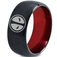 COI Tungsten Carbide Black Red DeadPool Dome Court Ring - TG3434