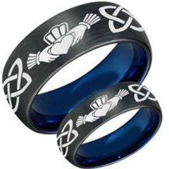 COI Titanium Black Blue Mo Anam Cara Celtic Ring - 3447