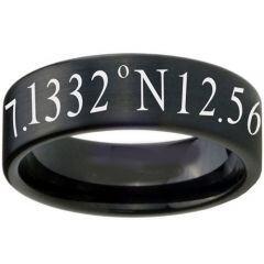 COI Black Titanium Coordinate Pipe Cut Flat Ring - 3456