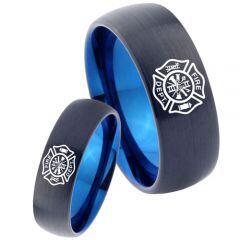 COI Tungsten Carbide Black Blue Firefighter Ring - 3465