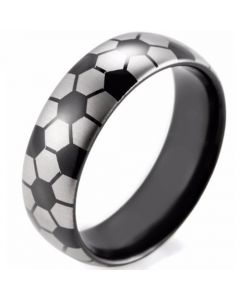COI Black Tungsten Carbide Soccer Pattern Dome Court Ring-3490