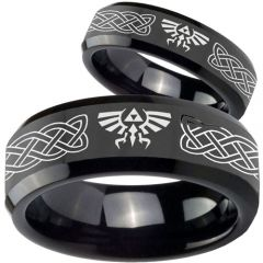 COI Black Tungsten Carbide Legend of Zelda Celtic Ring - TG3561B