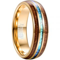 COI Gold Tone Tungsten Carbide Crushed Opal & Wood Dome Ring-3566