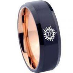 COI Tungsten Carbide Black Rose Supernatural Ring - 3568