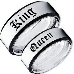 *COI Tungsten Carbide Black Silver King Queen Ring-TG3573