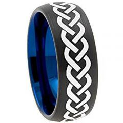COI Titanium Black Blue Celtic Dome Court Ring - 3617AA