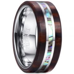 COI Tungsten Carbide Wood & Abalone Shell Ring-365