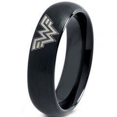 **COI Black Tungsten Carbide Wonder Woman Dome Court Ring-TG3681