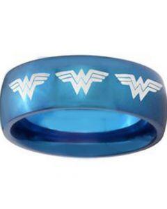 COI Blue Tungsten Carbide Wonder Woman Ring-TG3685