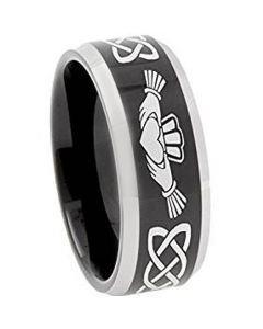 *COI Titanium Black Silver Mo Anam Cara Beveled Edge Ring-374AA